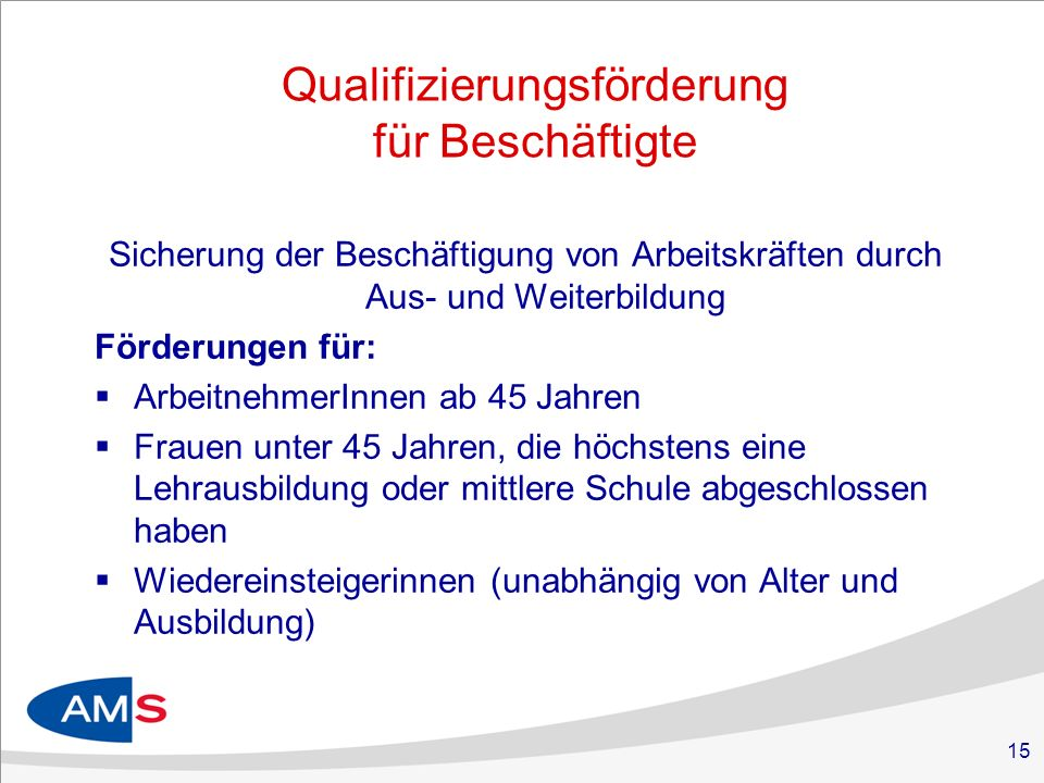 Qualifizierungsförderung für Beschäftigte