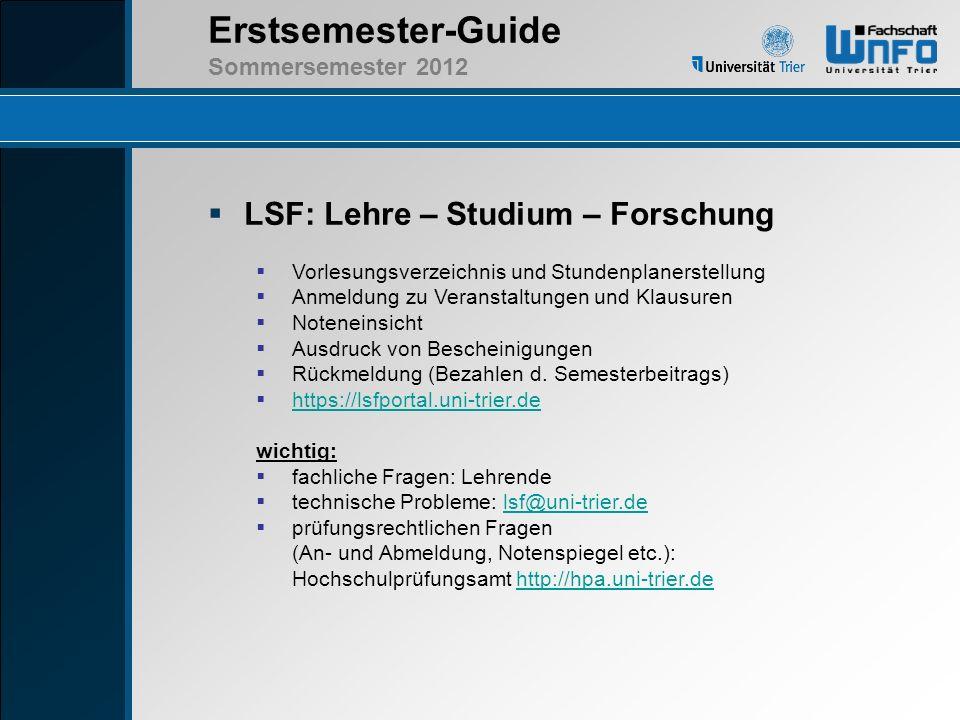 LSF: Lehre – Studium – Forschung