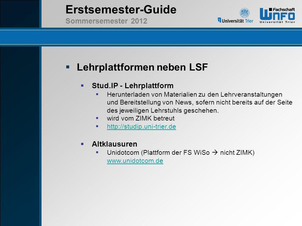 Lehrplattformen neben LSF