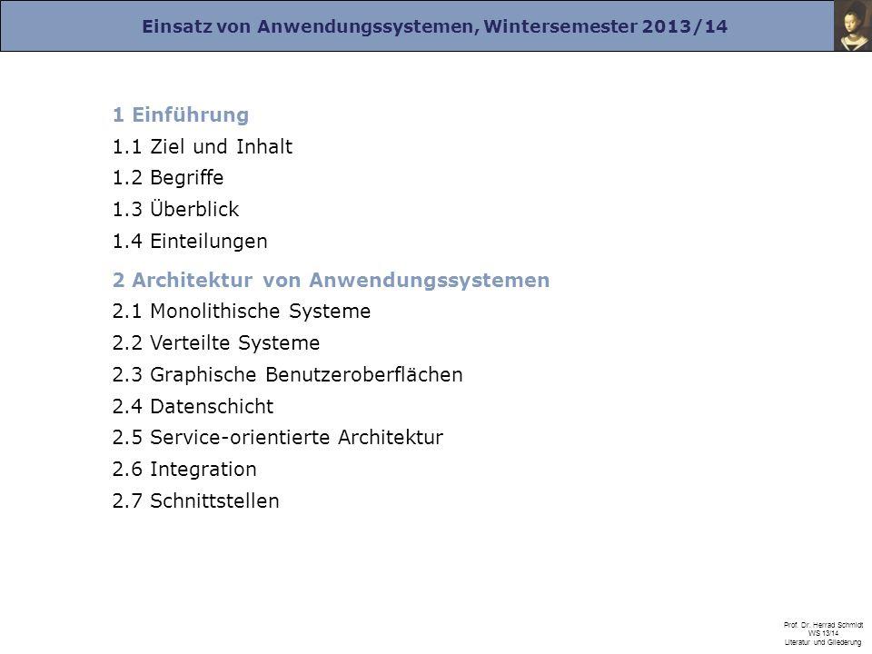 1 Einführung 1.1 Ziel und Inhalt. 1.2 Begriffe. 1.3 Überblick. 1.4 Einteilungen. 2 Architektur von Anwendungssystemen.