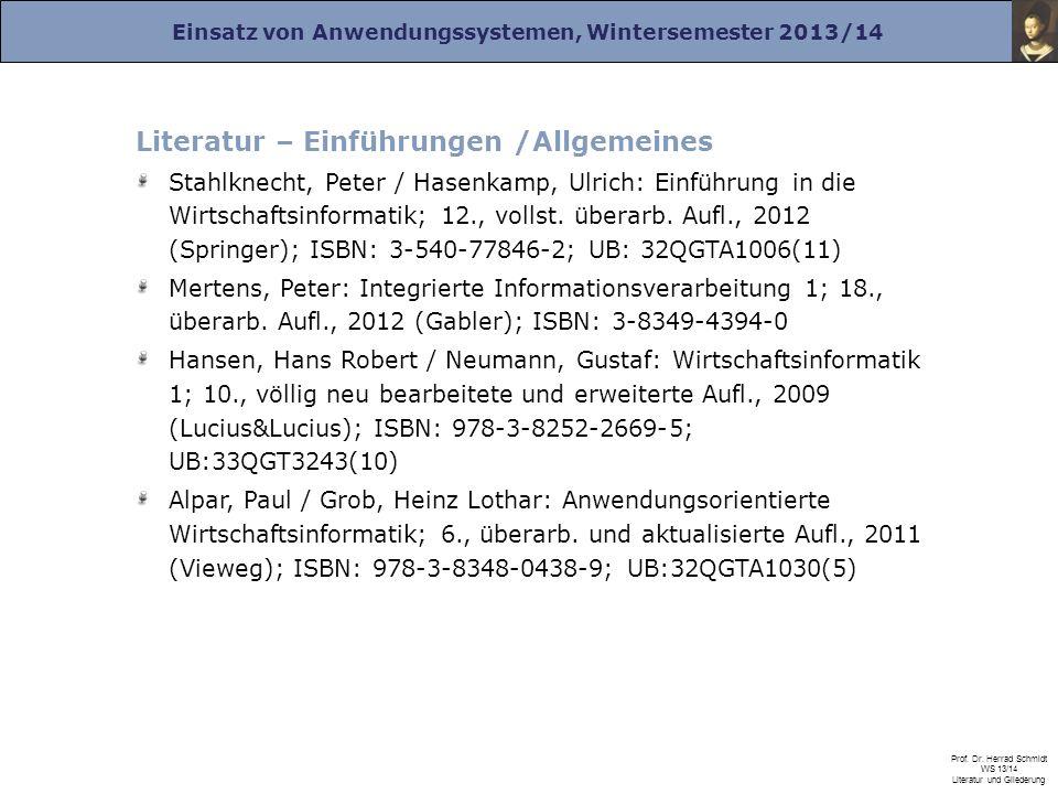 Literatur – Einführungen /Allgemeines