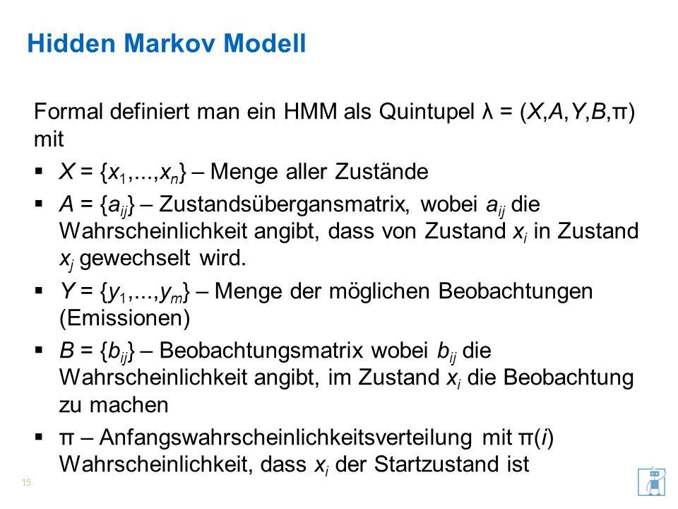 Hidden Markov Modell Formal definiert man ein HMM als Quintupel λ = (X,A,Y,B,π) mit. X = {x1,...,xn} – Menge aller Zustände.