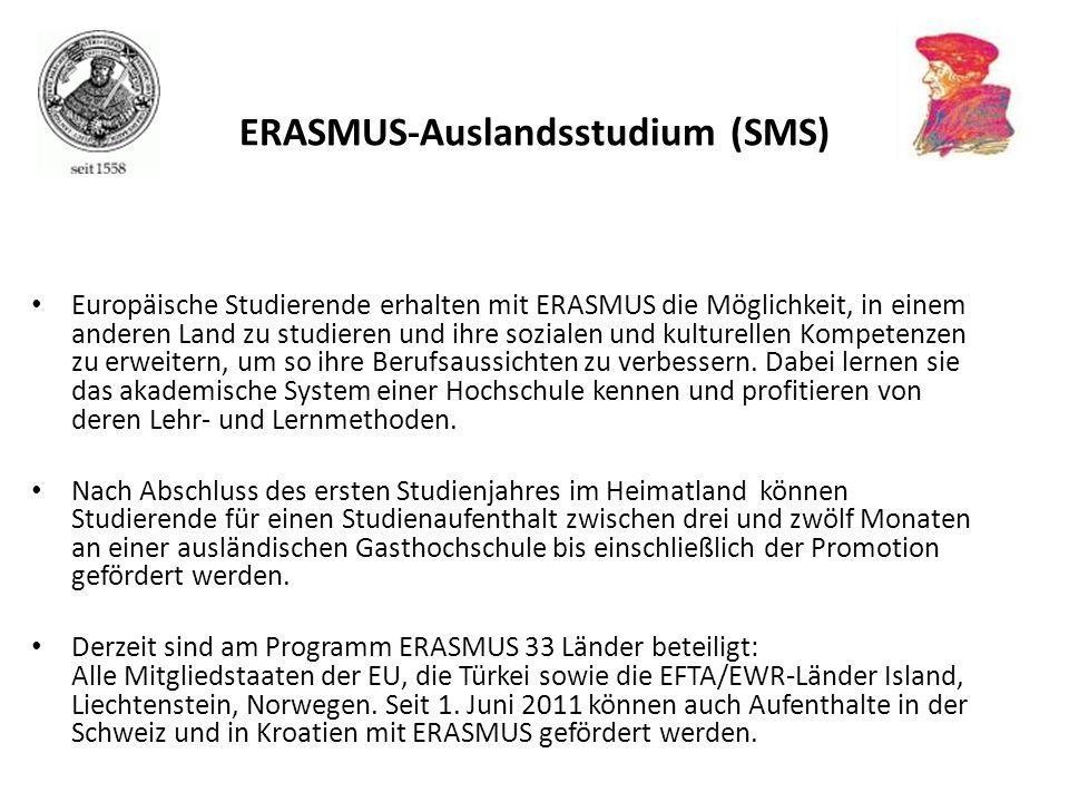ERASMUS-Auslandsstudium (SMS)