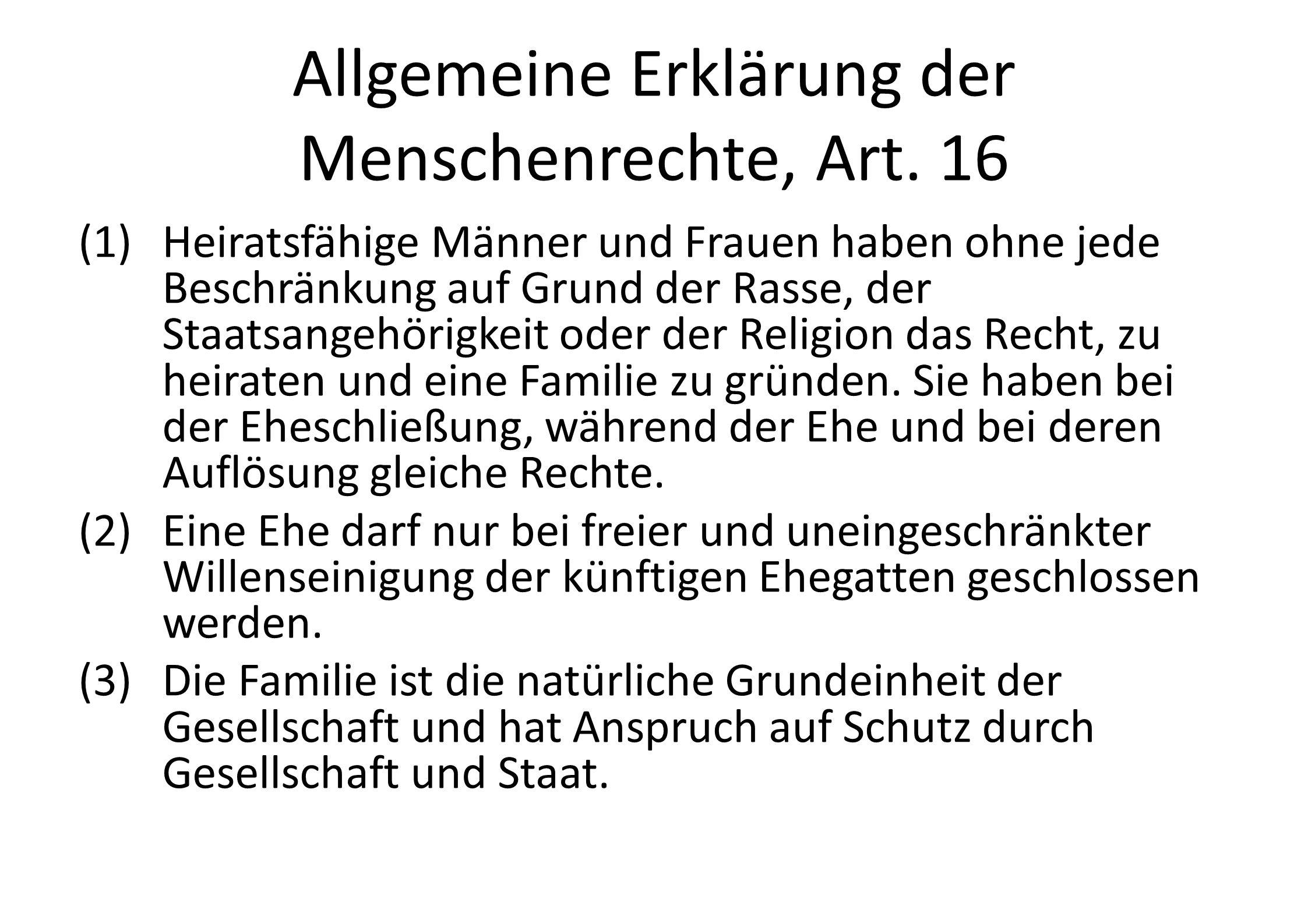 Allgemeine Erklärung der Menschenrechte, Art. 16