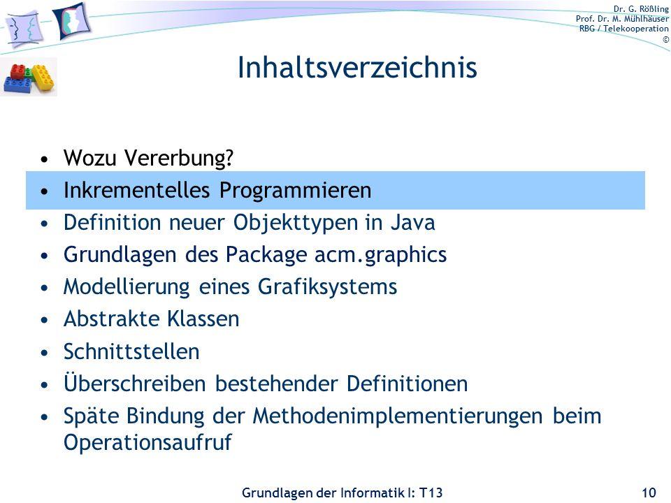 Inhaltsverzeichnis Wozu Vererbung Inkrementelles Programmieren