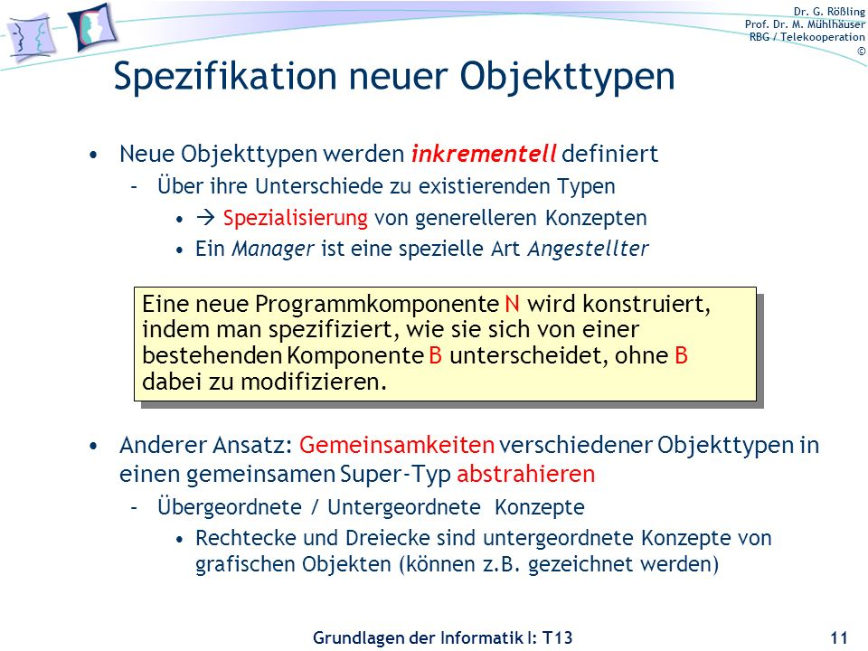 Spezifikation neuer Objekttypen