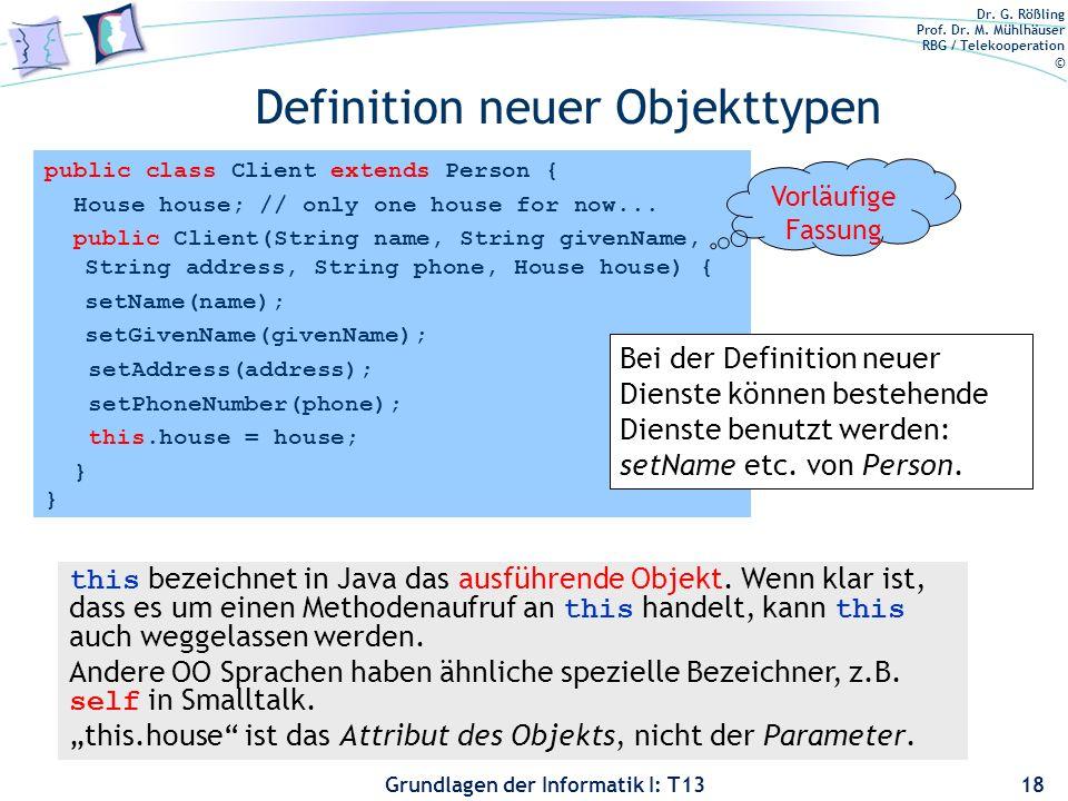 Definition neuer Objekttypen