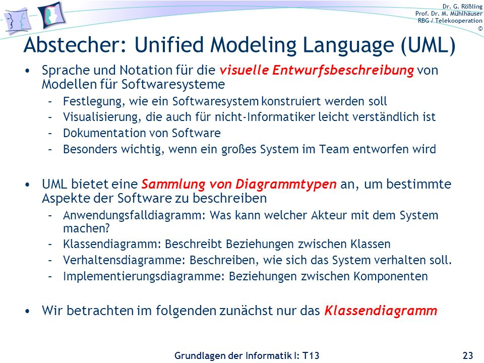 Abstecher: Unified Modeling Language (UML)