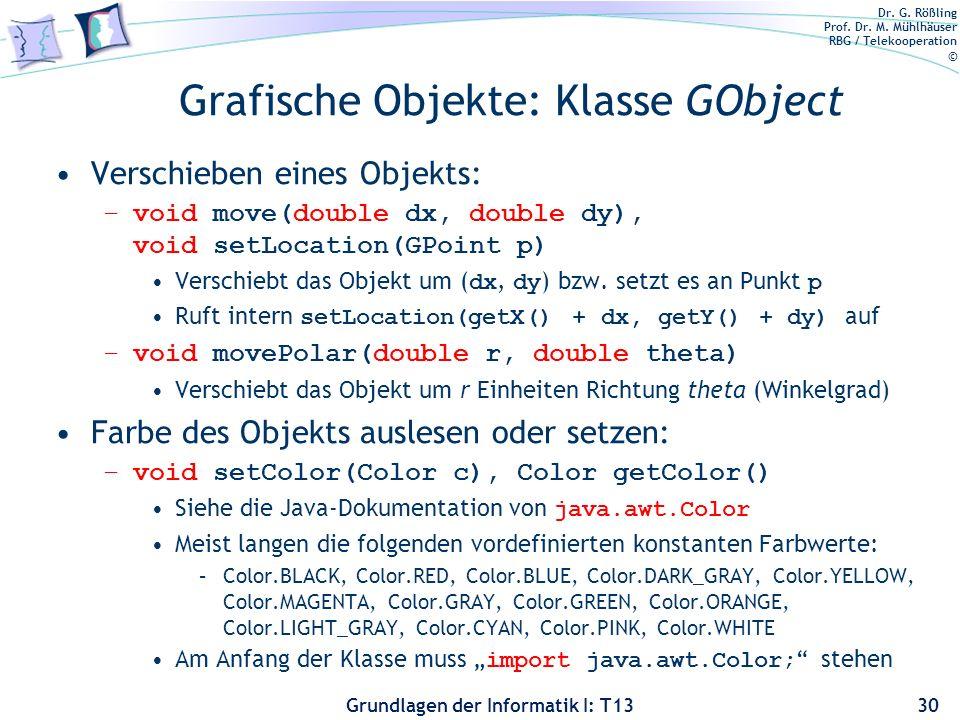 Grafische Objekte: Klasse GObject