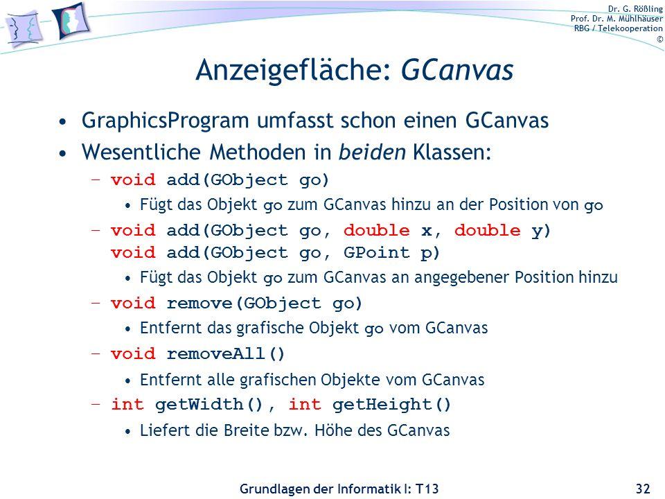 Anzeigefläche: GCanvas