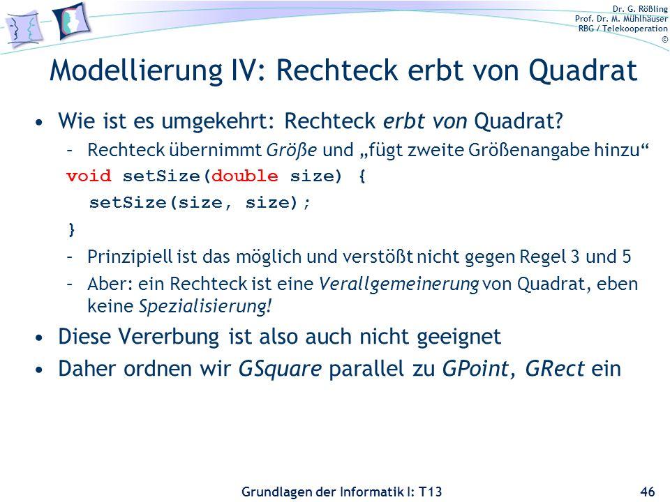 Modellierung IV: Rechteck erbt von Quadrat