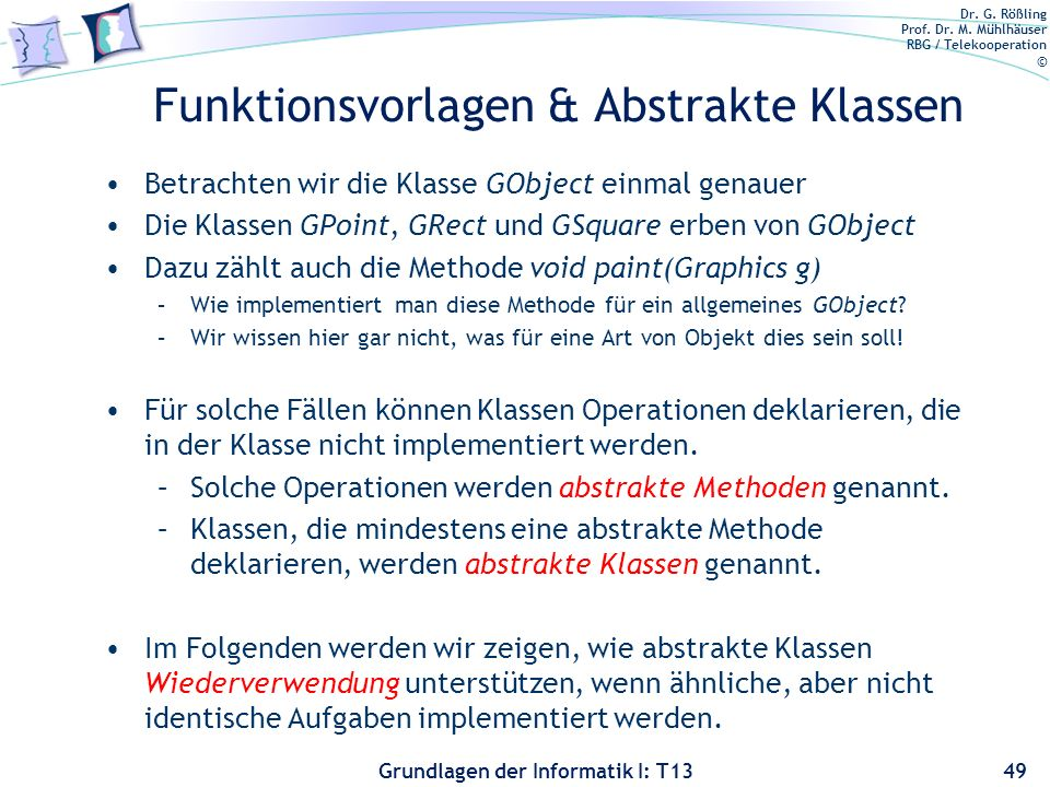 Funktionsvorlagen & Abstrakte Klassen