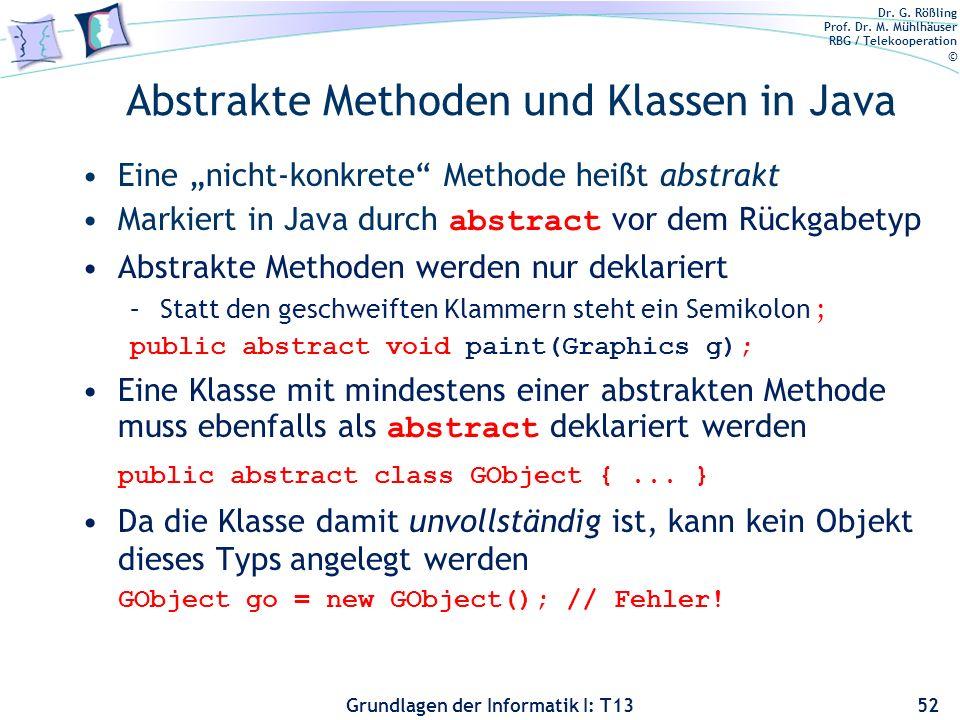 Abstrakte Methoden und Klassen in Java