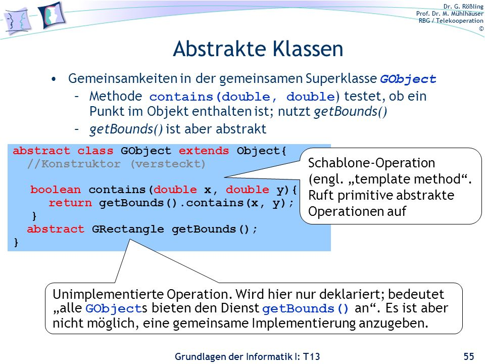Abstrakte Klassen Gemeinsamkeiten in der gemeinsamen Superklasse GObject.