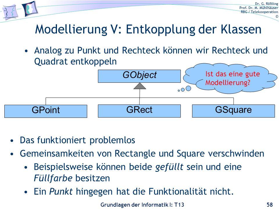 Modellierung V: Entkopplung der Klassen