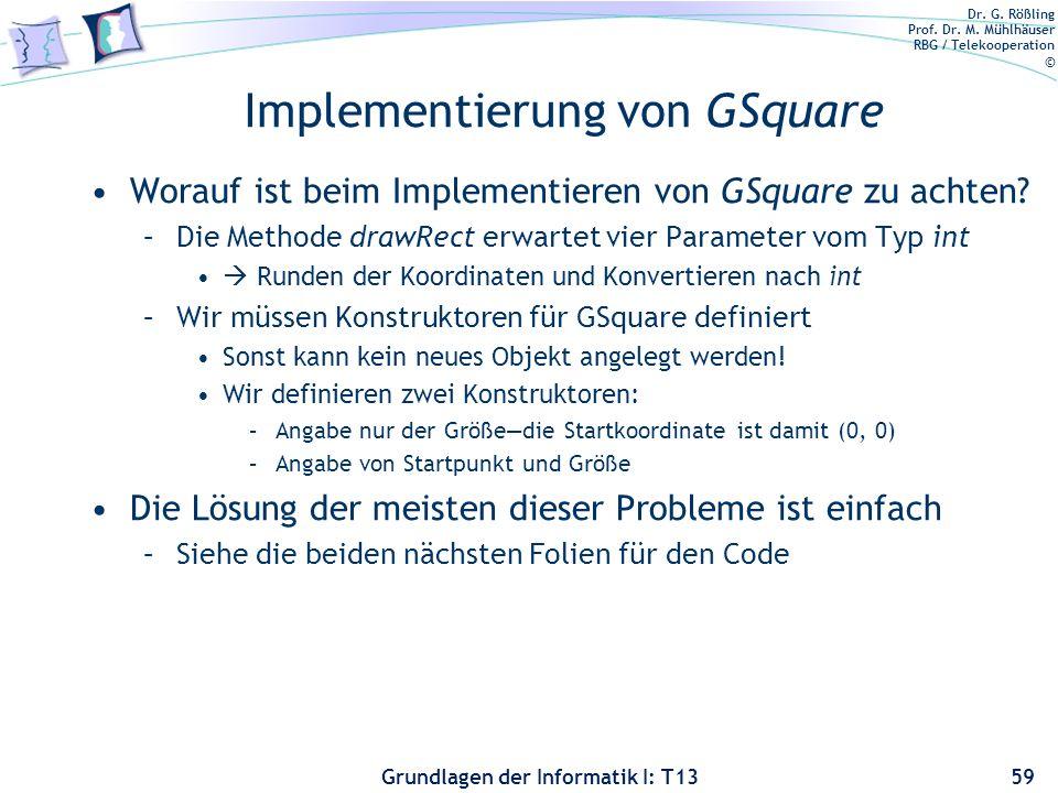Implementierung von GSquare