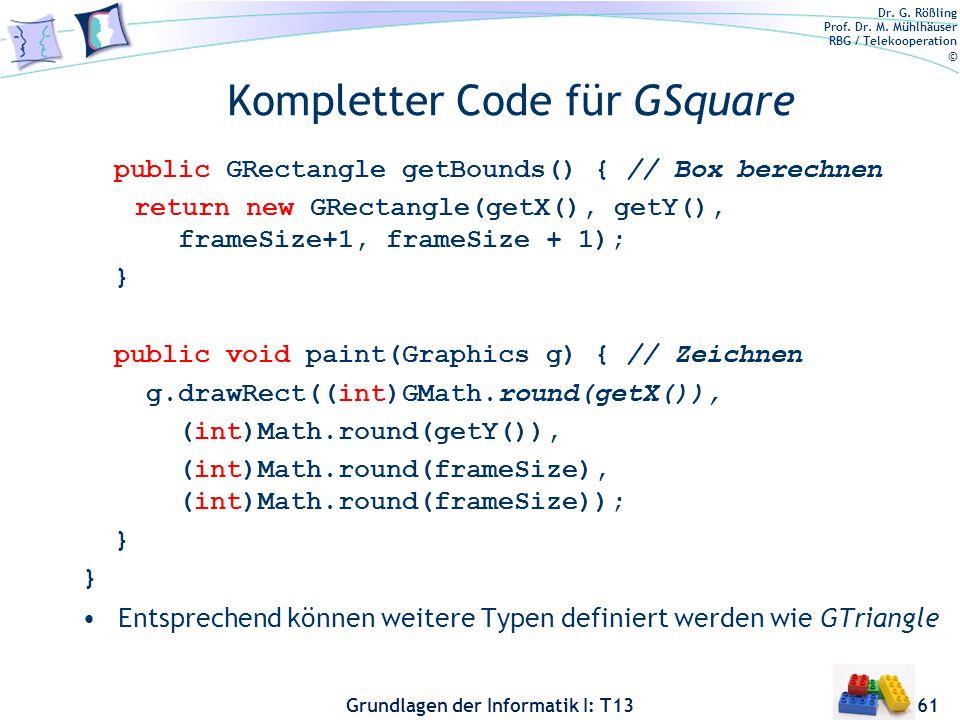 Kompletter Code für GSquare
