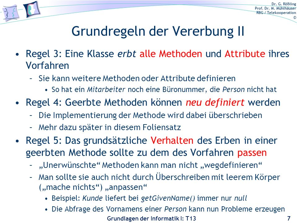 Grundregeln der Vererbung II