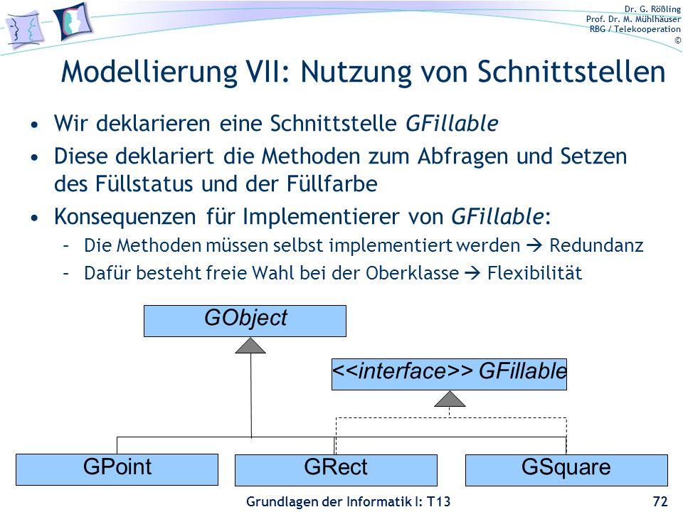 Modellierung VII: Nutzung von Schnittstellen