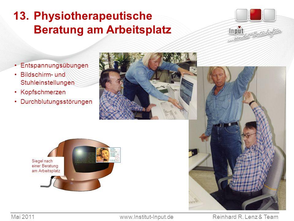 13. Physiotherapeutische Beratung am Arbeitsplatz