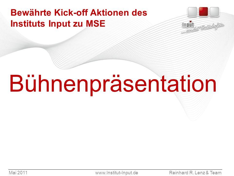 Bewährte Kick-off Aktionen des Instituts Input zu MSE