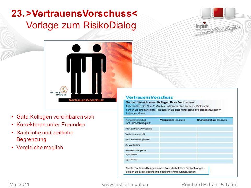 23. >VertrauensVorschuss< Vorlage zum RisikoDialog
