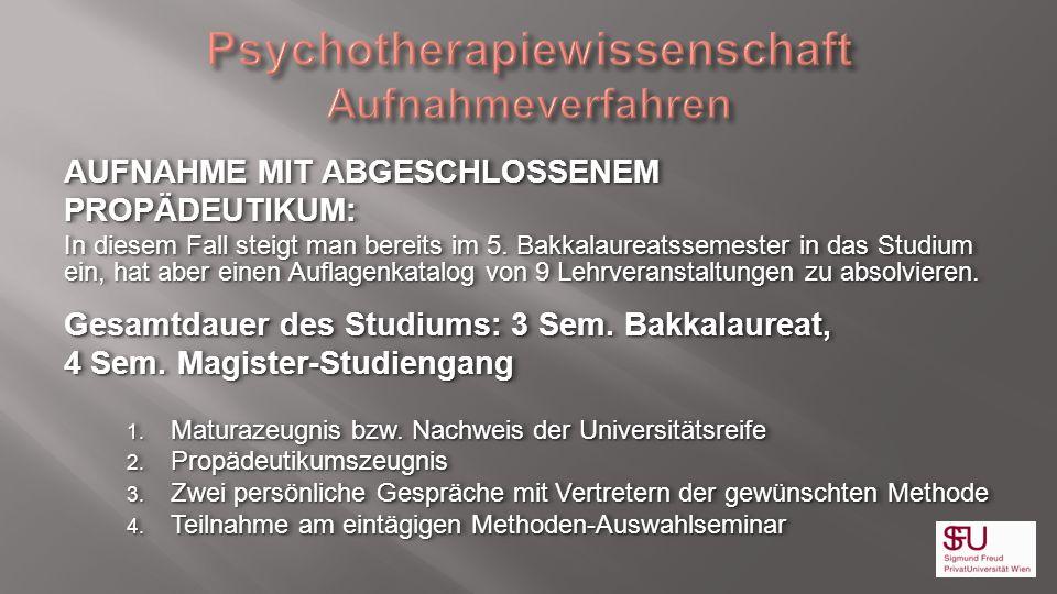 Psychotherapiewissenschaft Aufnahmeverfahren