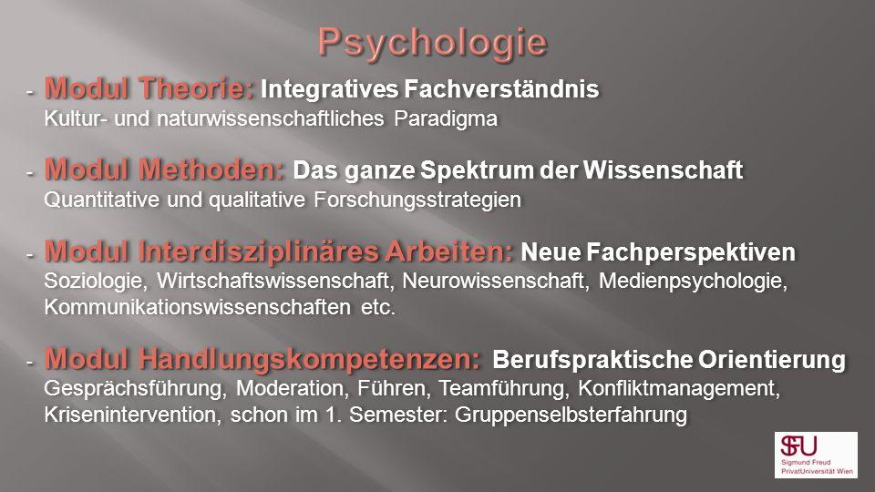Psychologie Modul Theorie: Integratives Fachverständnis Kultur- und naturwissenschaftliches Paradigma.