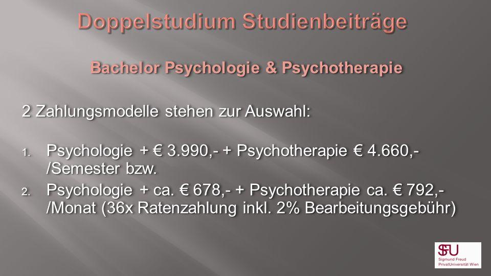 Doppelstudium Studienbeiträge Bachelor Psychologie & Psychotherapie