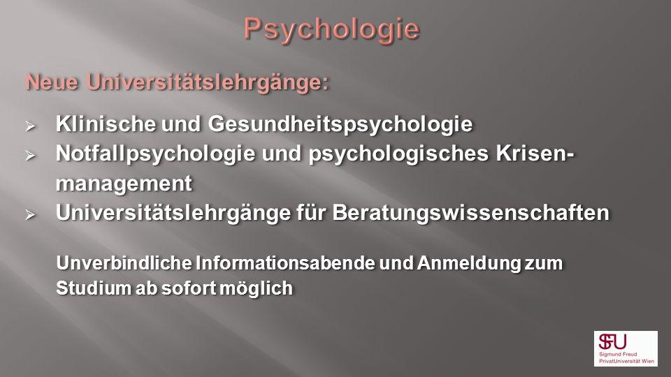 Psychologie Neue Universitätslehrgänge: