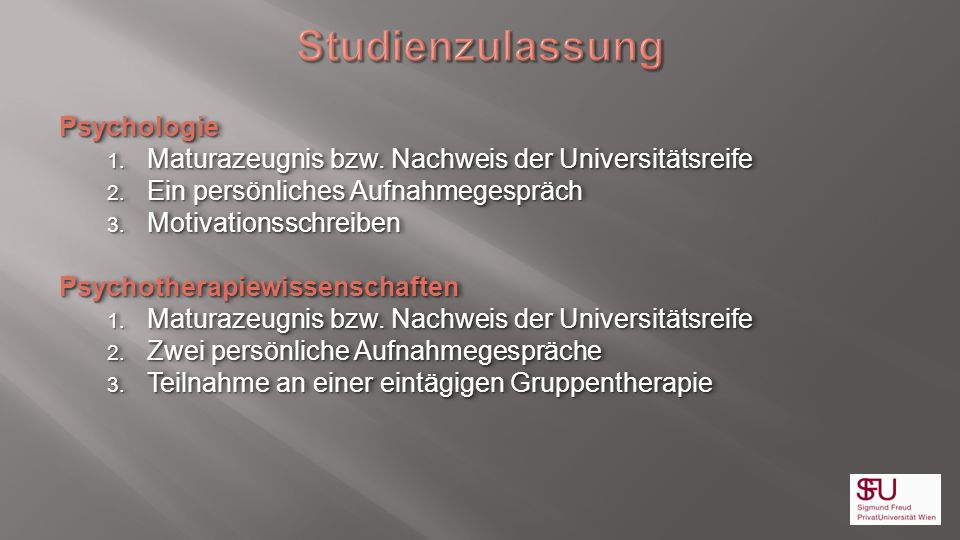 Studienzulassung Psychologie