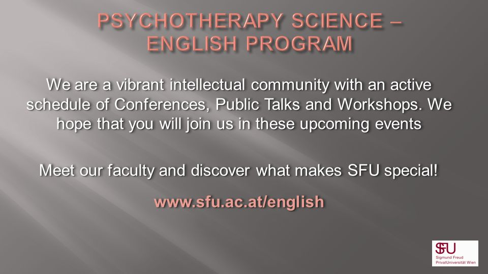 PSYCHOTHERAPY SCIENCE – ENGLISH PROGRAM