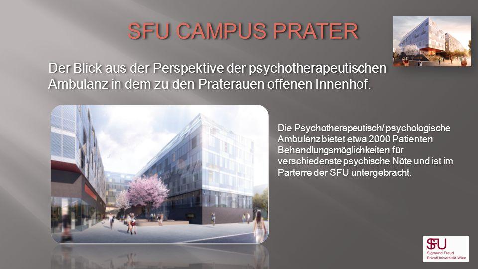 SFU CAMPUS PRATER Der Blick aus der Perspektive der psychotherapeutischen Ambulanz in dem zu den Praterauen offenen Innenhof.
