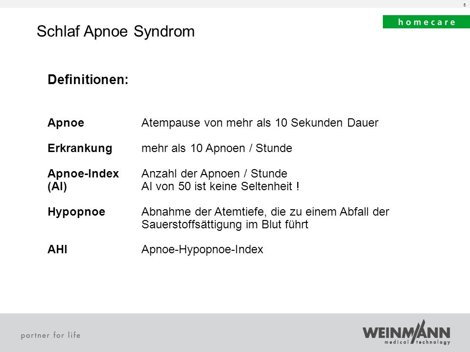 Schlaf Apnoe Syndrom Definitionen: