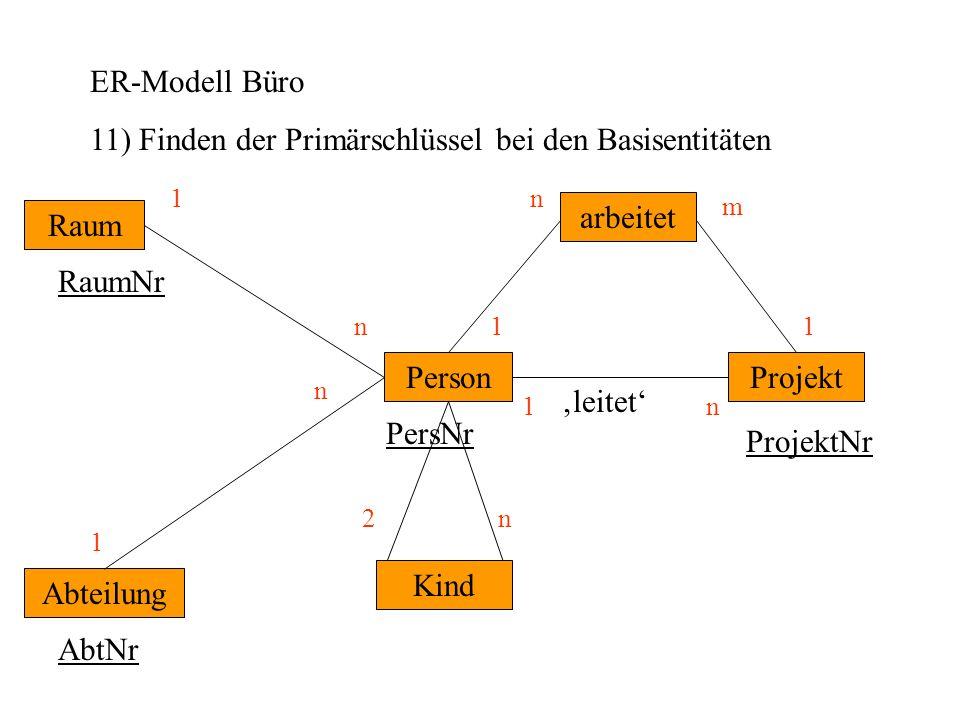 11) Finden der Primärschlüssel bei den Basisentitäten