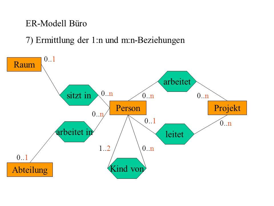 7) Ermittlung der 1:n und m:n-Beziehungen