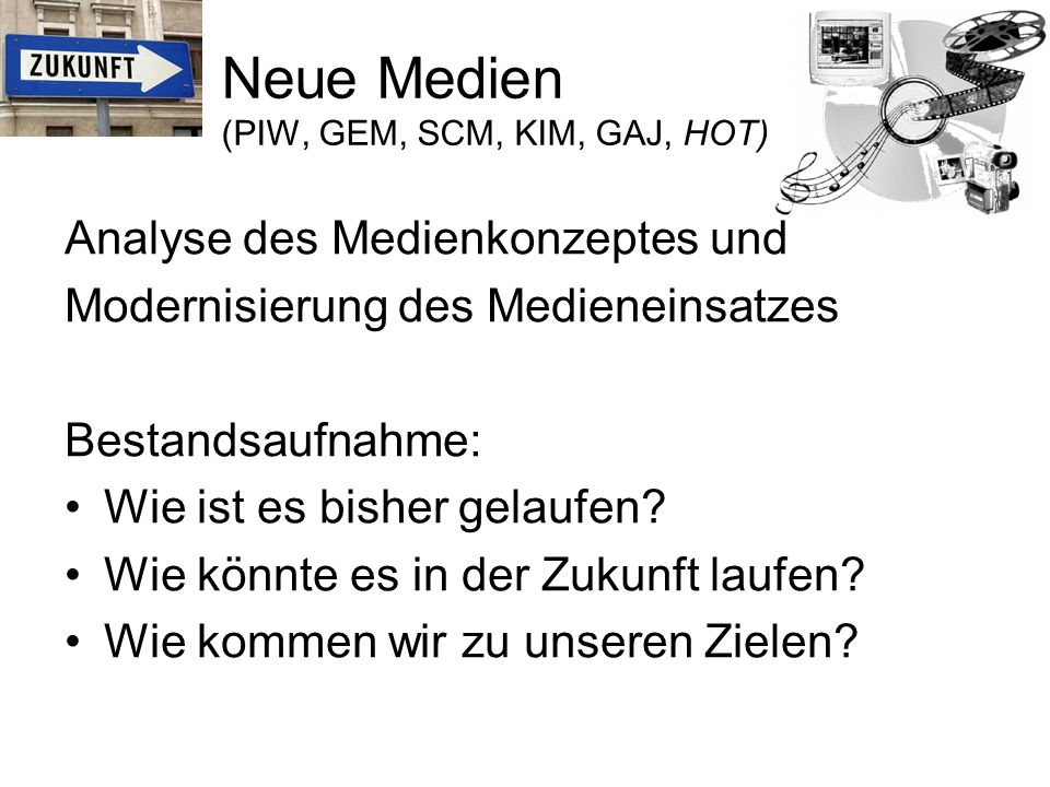 Neue Medien (PIW, GEM, SCM, KIM, GAJ, HOT)