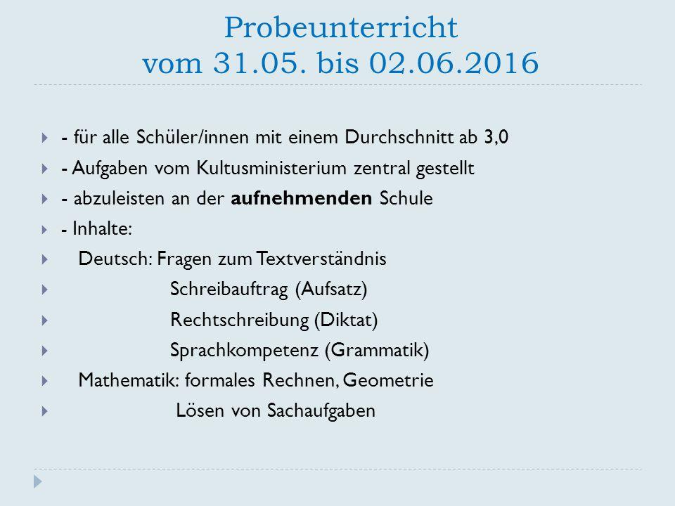 Probeunterricht vom 31.05. bis 02.06.2016