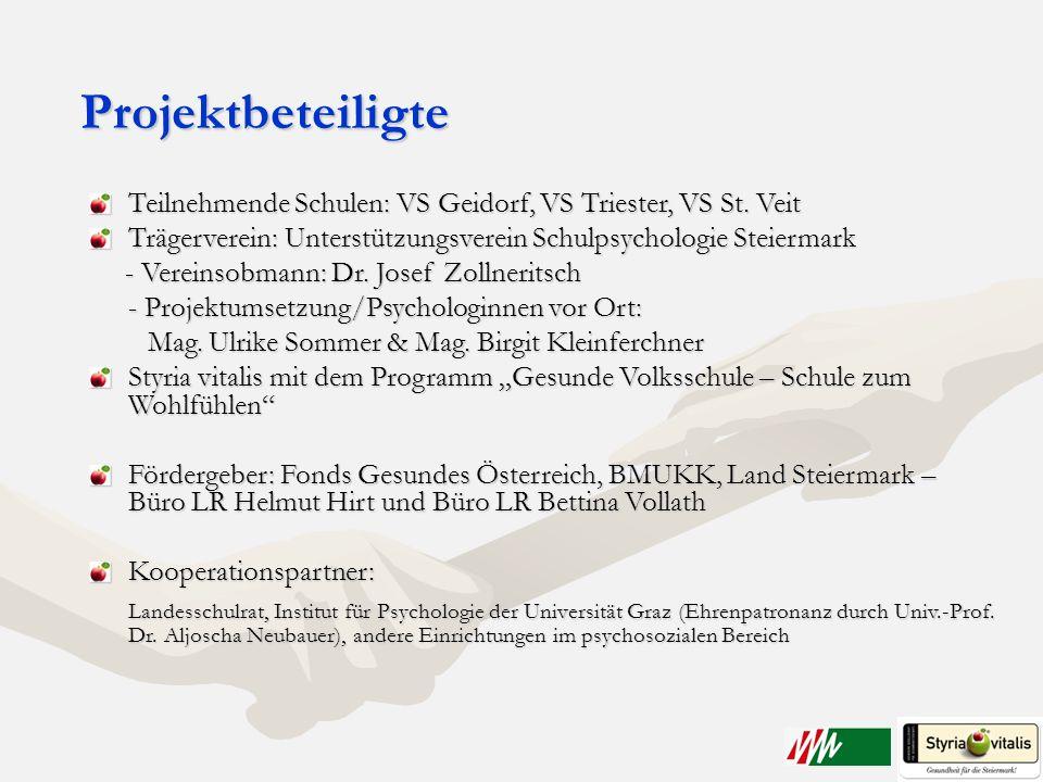 Projektbeteiligte Teilnehmende Schulen: VS Geidorf, VS Triester, VS St. Veit. Trägerverein: Unterstützungsverein Schulpsychologie Steiermark.