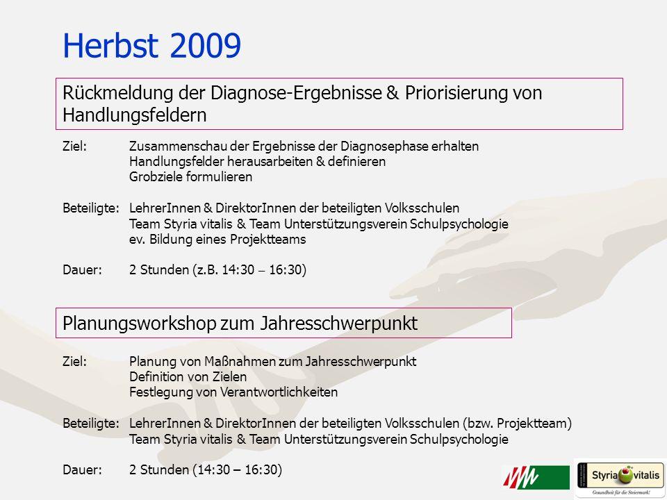 Herbst 2009 Rückmeldung der Diagnose-Ergebnisse & Priorisierung von Handlungsfeldern. Ziel: Zusammenschau der Ergebnisse der Diagnosephase erhalten.