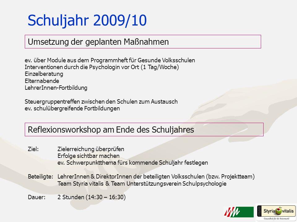 Schuljahr 2009/10 Umsetzung der geplanten Maßnahmen