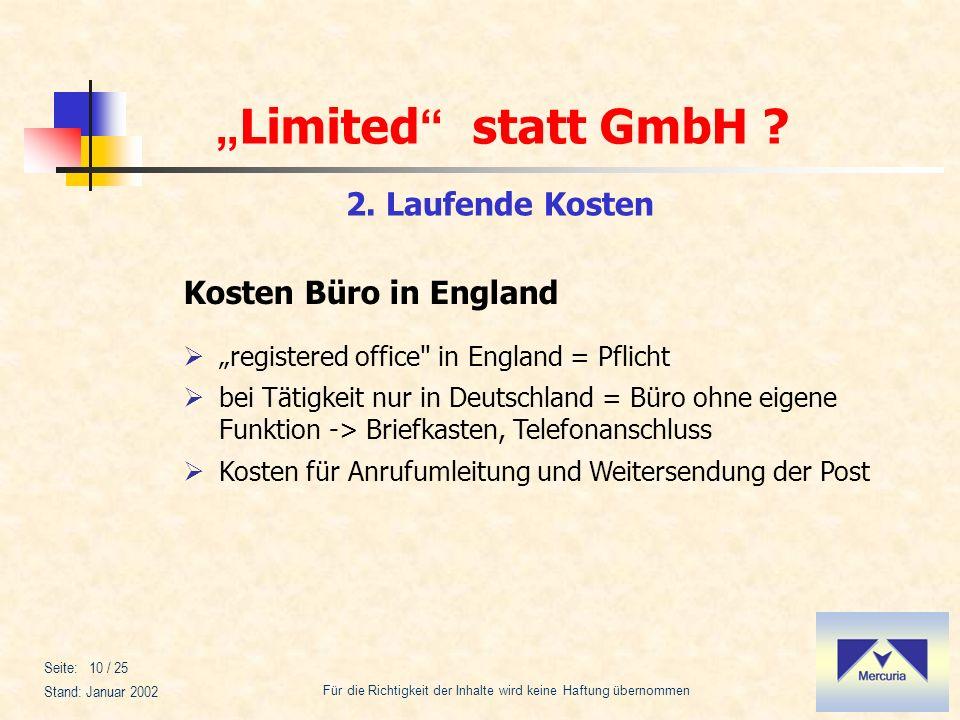 2. Laufende Kosten Kosten Büro in England