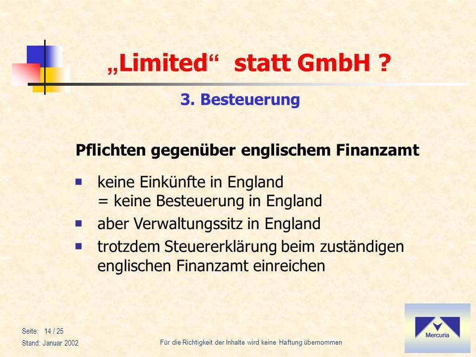 Pflichten gegenüber englischem Finanzamt