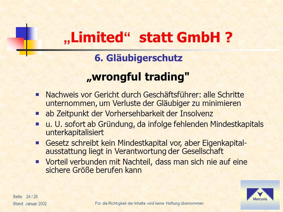 """""""wrongful trading 6. Gläubigerschutz"""