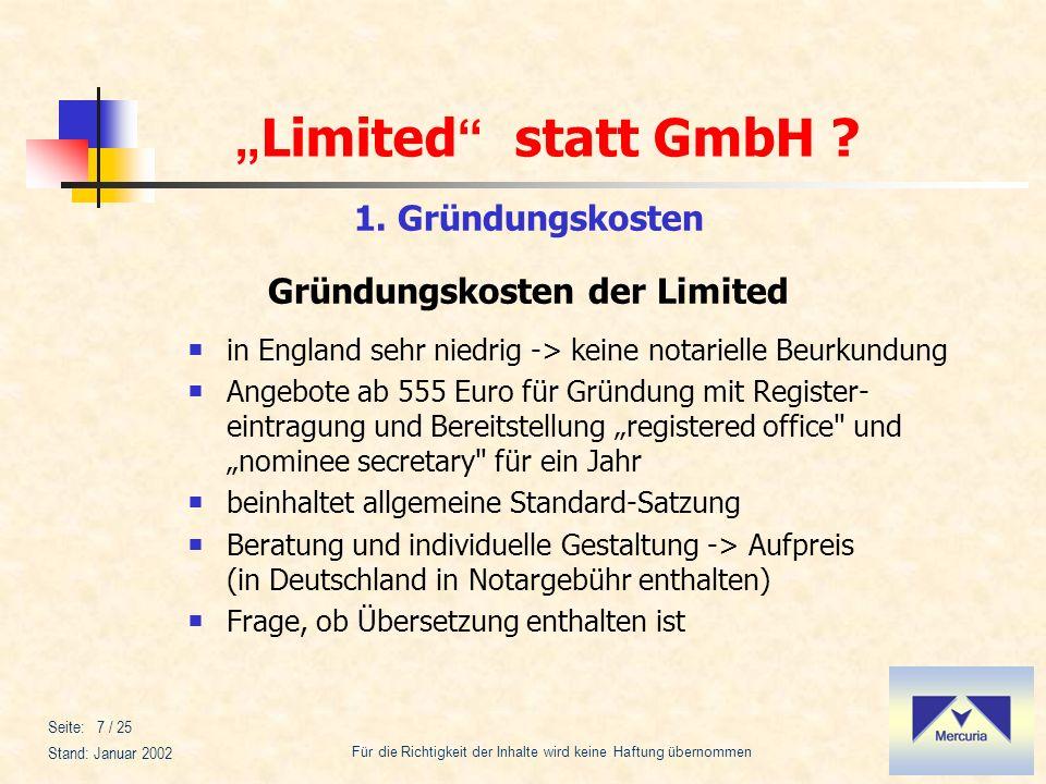 1. Gründungskosten Gründungskosten der Limited