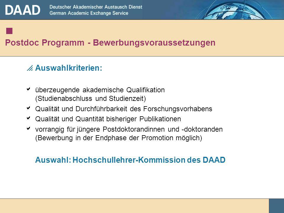 Postdoc Programm - Bewerbungsvoraussetzungen