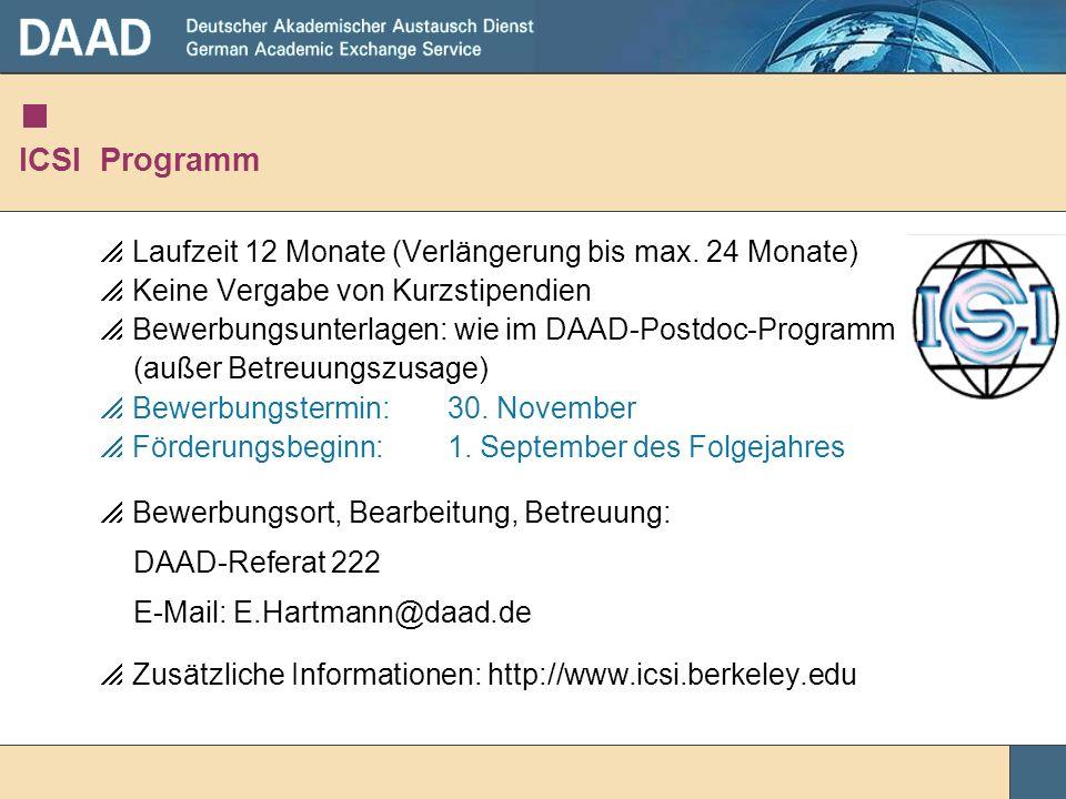 ICSI Programm Laufzeit 12 Monate (Verlängerung bis max. 24 Monate)