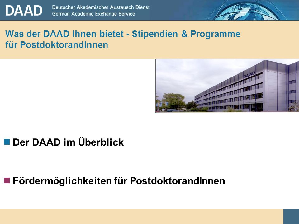 Was der DAAD Ihnen bietet - Stipendien & Programme für PostdoktorandInnen