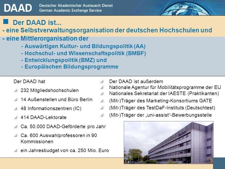 Der DAAD ist... - eine Selbstverwaltungsorganisation der deutschen Hochschulen und - eine Mittlerorganisation der - Auswärtigen Kultur- und Bildungspolitik (AA) - Hochschul- und Wissenschaftspolitik (BMBF) - Entwicklungspolitik (BMZ) und - Europäischen Bildungsprogramme