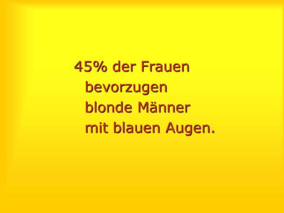 45% der Frauen bevorzugen blonde Männer mit blauen Augen.